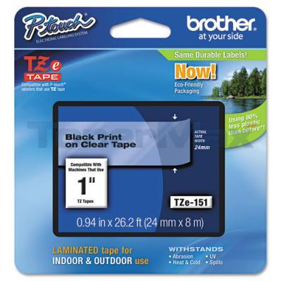 BROTHER TZ LAMINATED TAPE BLACK ON CLEAR 0.94 IN X 26.2 FT